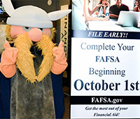Victor Viking by FAFSA sign